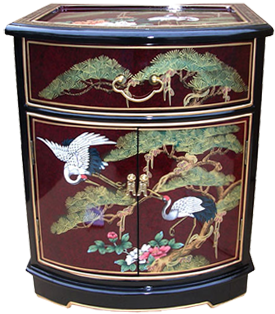 Asian furniture piece with lacquer finish