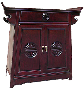a piece of Oriental furniture with n oil finish